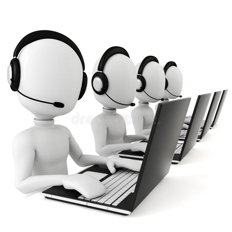 3d呼叫中心人 向量例证