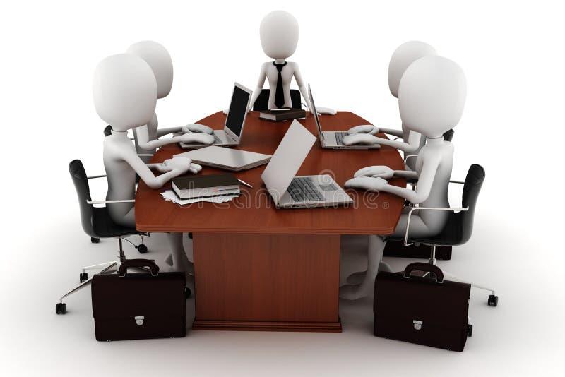 3d商人会议白色 库存例证