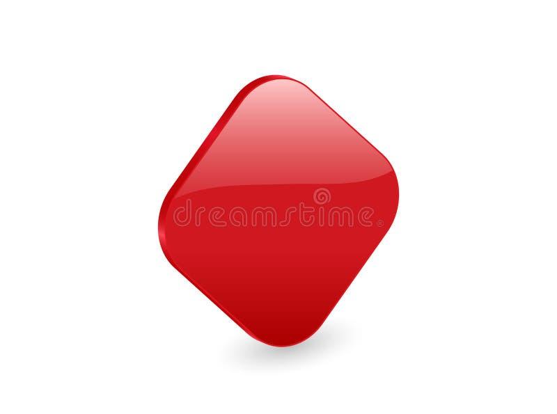 3d图标红色rhomb 库存例证