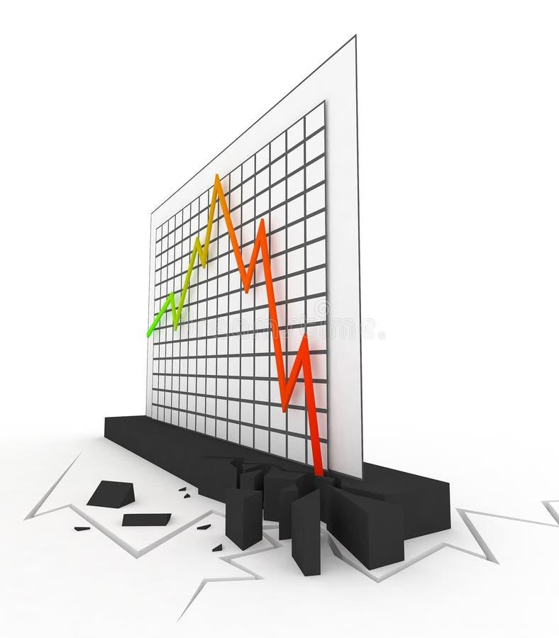 3d图表危机 向量例证