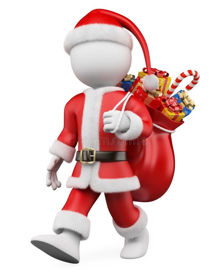 3D圣诞节白色人。 圣诞老人走 皇族释放例证