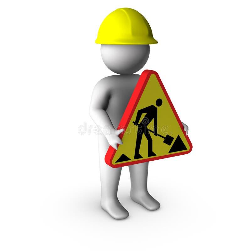 3d在工作者之下的建筑符号 向量例证
