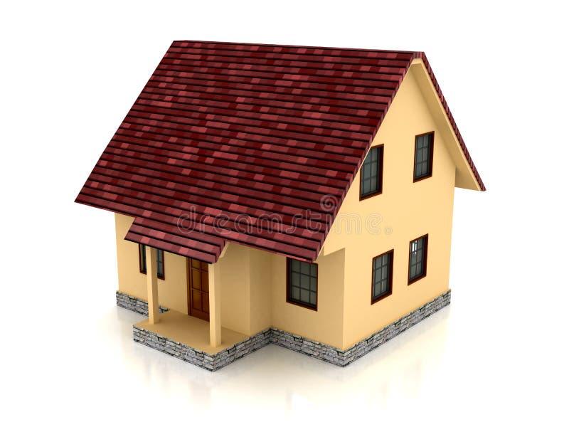 3d在白色的背景房子 库存例证