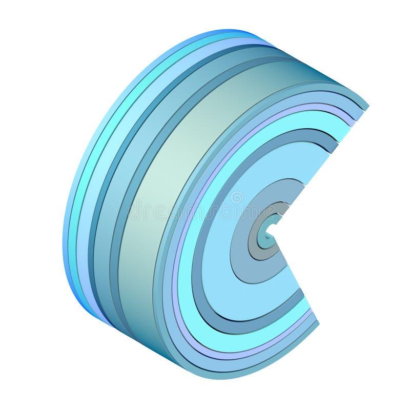 3d在蓝色的抽象来回图标形状 皇族释放例证