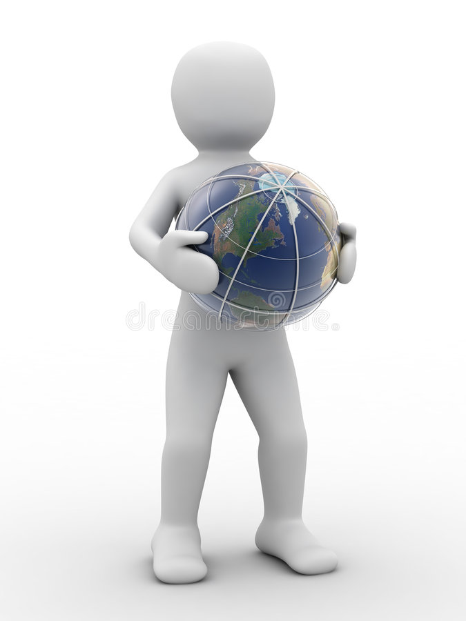 3d地球人员 库存例证