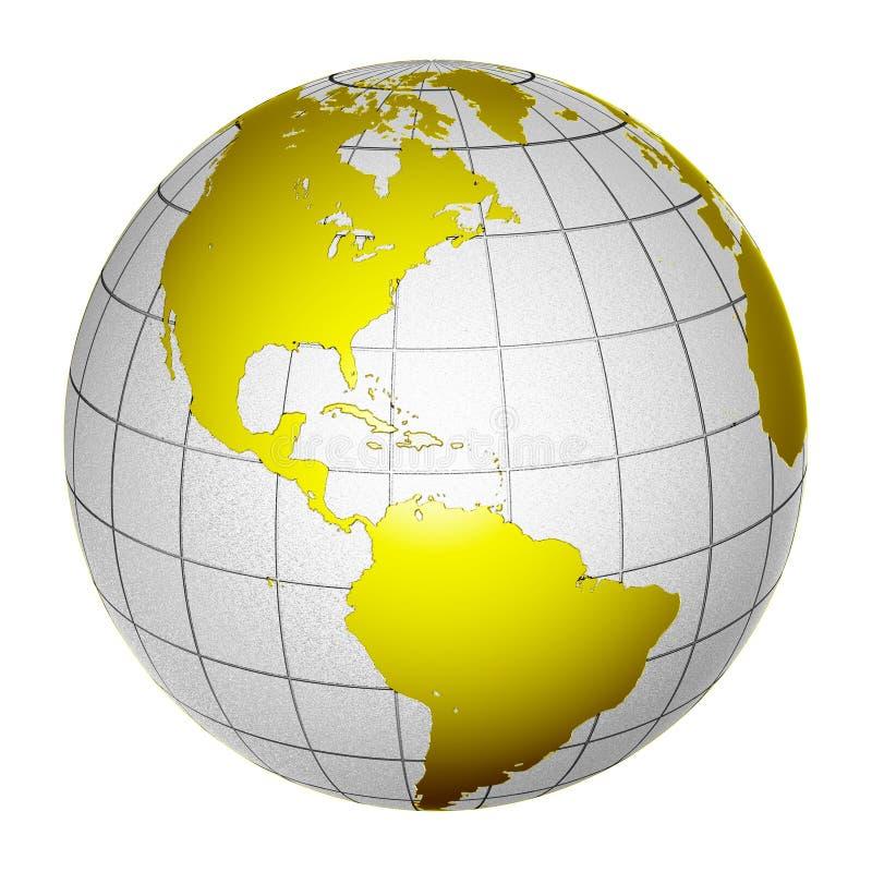 3d地球地球查出的行星 库存例证