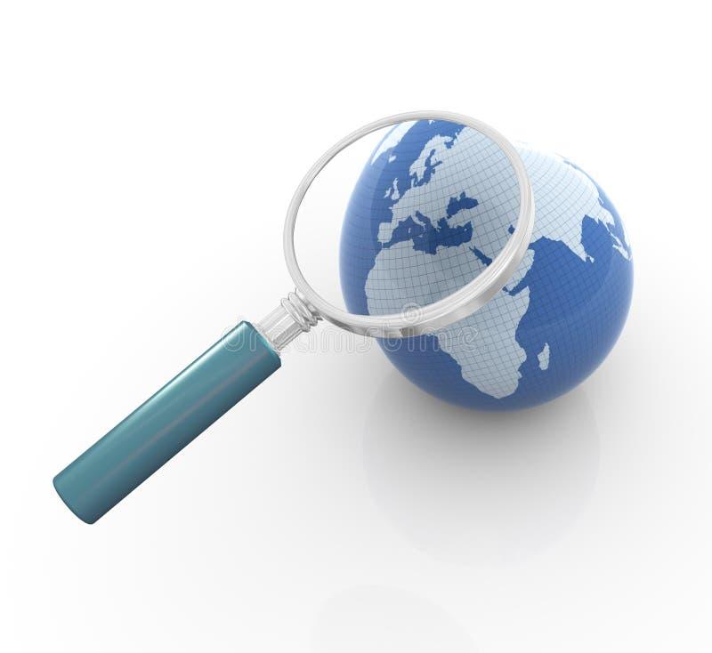 3d地球放大器 库存例证