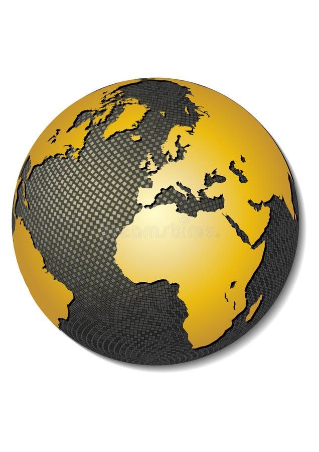 3d地球映射风格化向量 库存例证