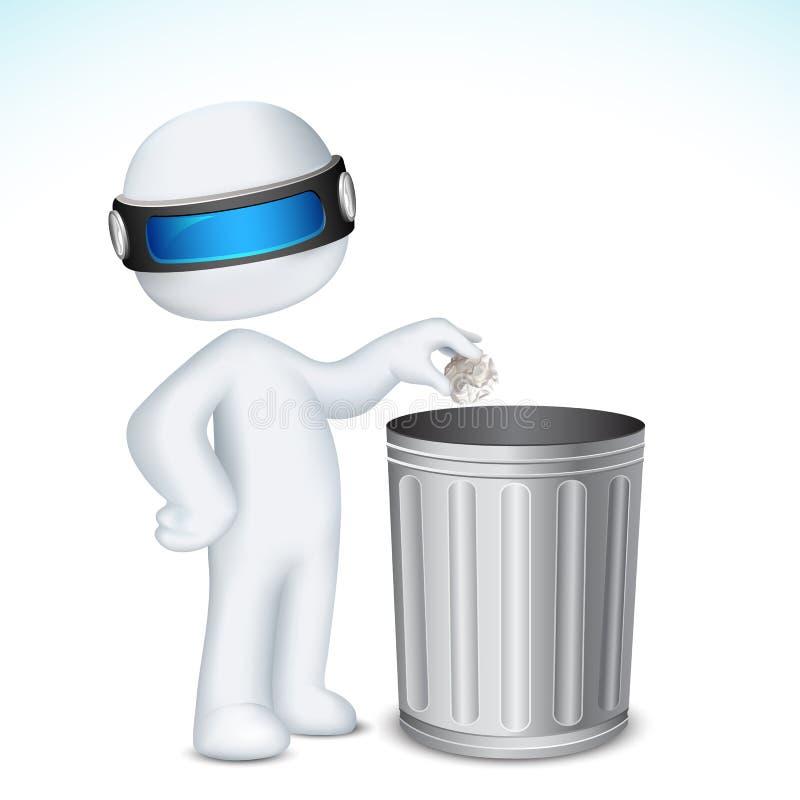 3d垃圾箱人使用 皇族释放例证