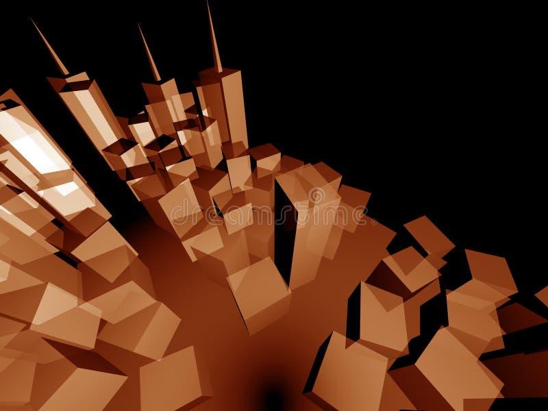 3d城市发展透视图 皇族释放例证