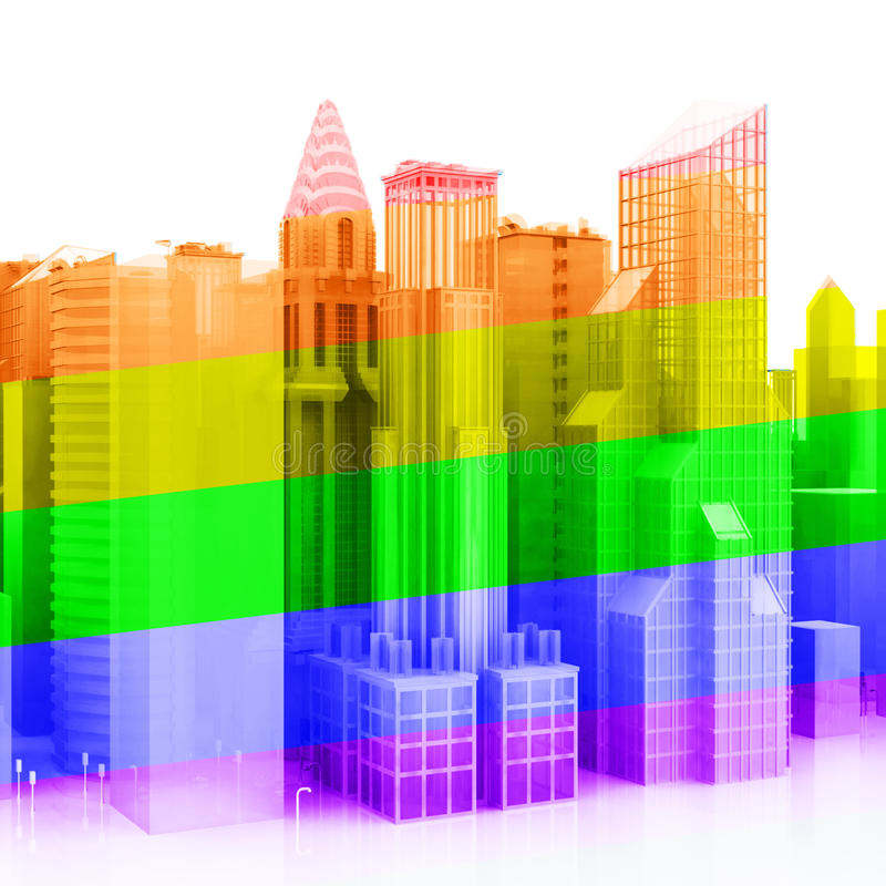 3d城市同性恋者 皇族释放例证