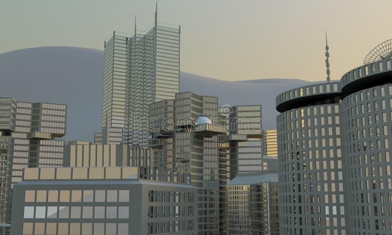 3d城市地平线 库存例证