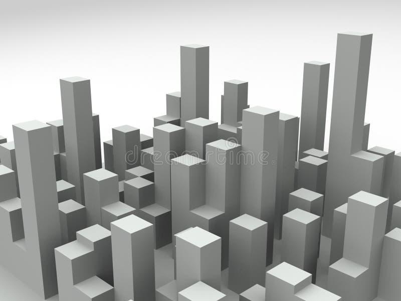 3d城市地平线 皇族释放例证