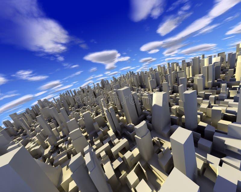 3d城市横向 皇族释放例证