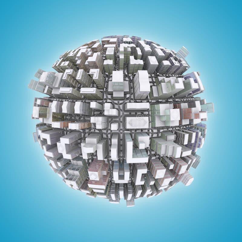 3d城市行星 向量例证