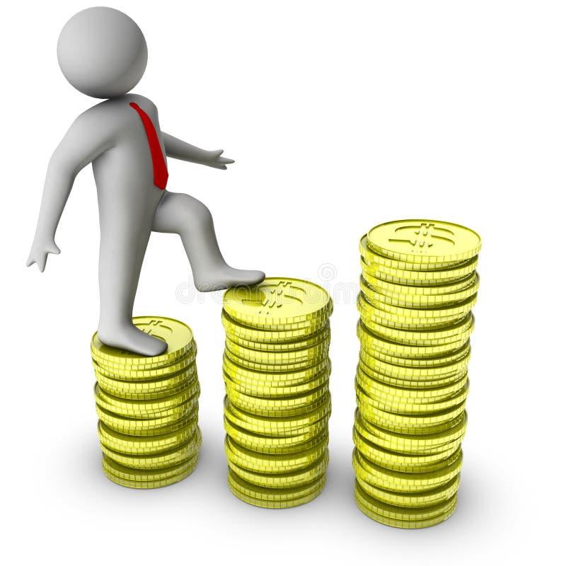 3d增长人货币陈列 皇族释放例证