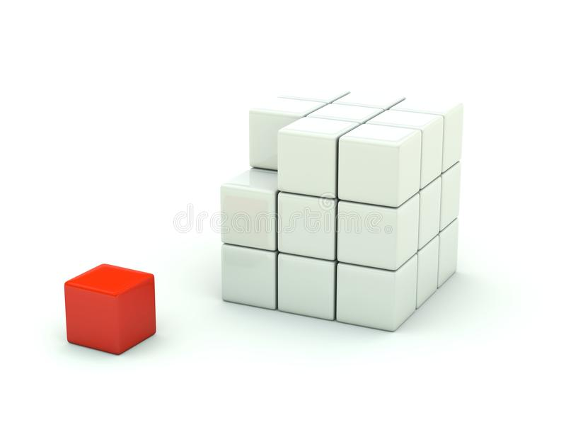 3d多维数据集查出的白色 库存例证