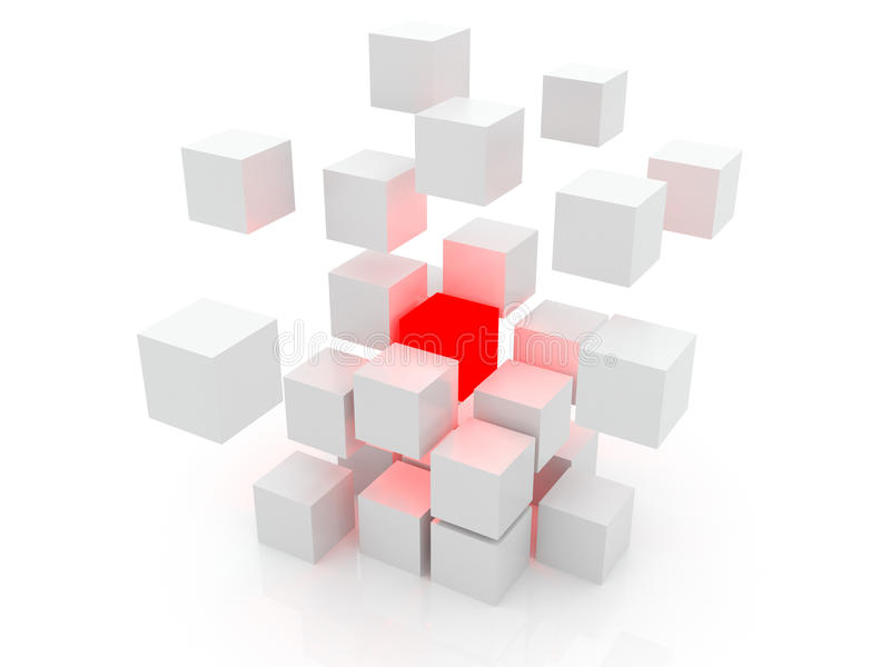 3d多维数据集白色 向量例证