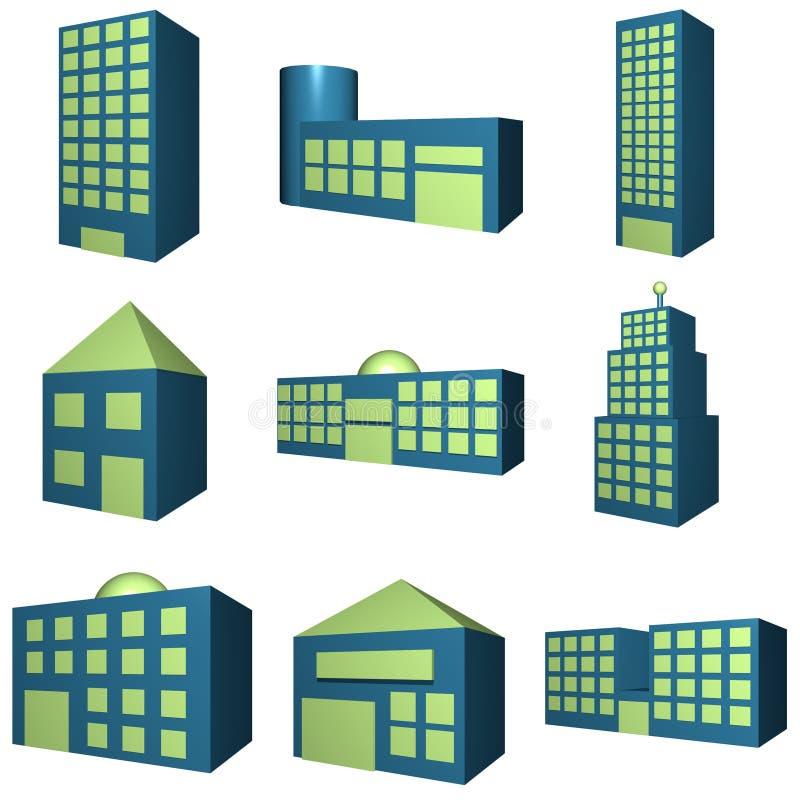 3d大厦图标集 库存例证