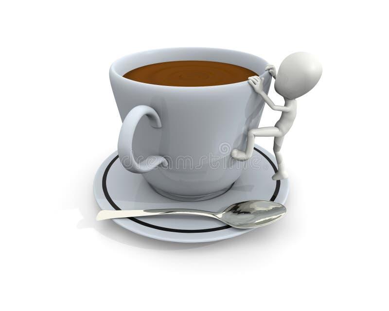 3d大咖啡杯人 库存例证