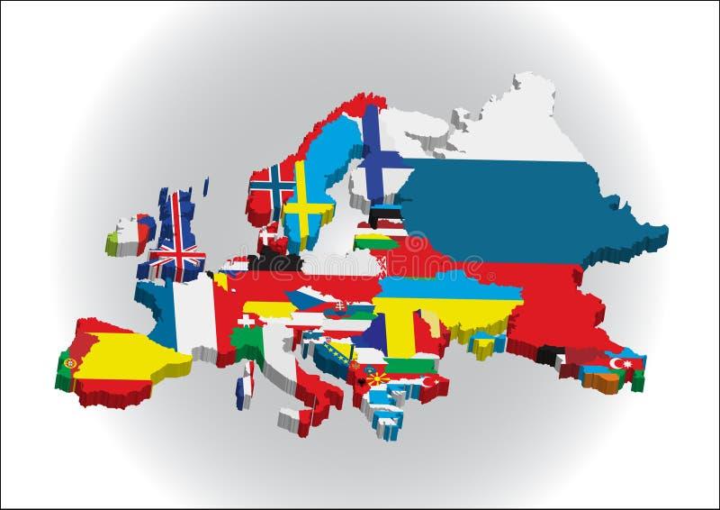 3d大陆欧洲 库存例证