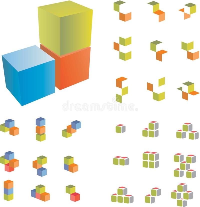 3d夫妇多维数据集 向量例证