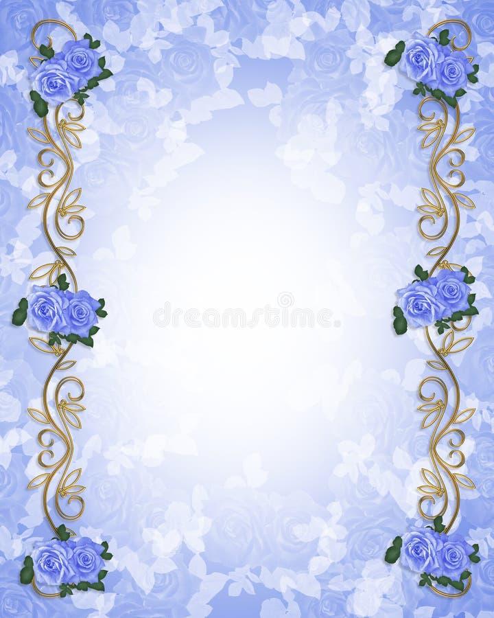 3d婚姻蓝色邀请的玫瑰 皇族释放例证