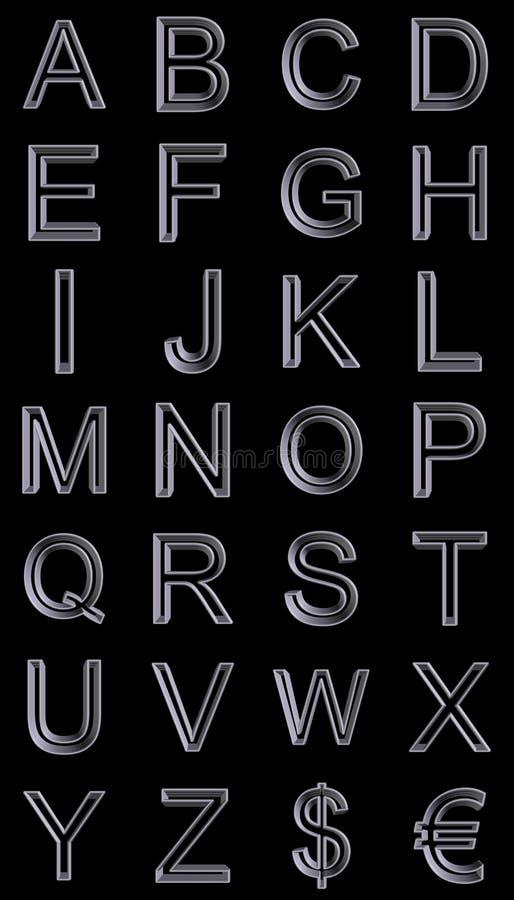 3d字母表金属样式 皇族释放例证