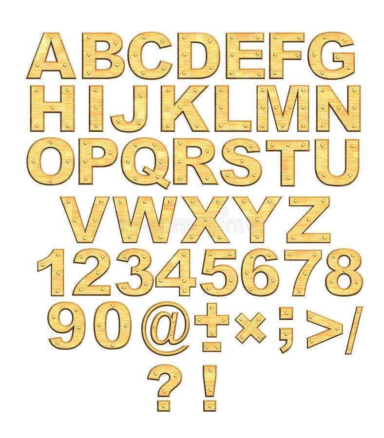 3d字母表金黄信函铆钉 向量例证