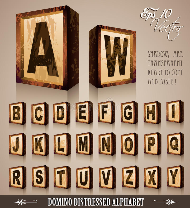 3d字母表Domino样式葡萄酒 库存例证