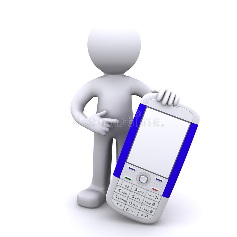 3d字符移动电话 库存例证