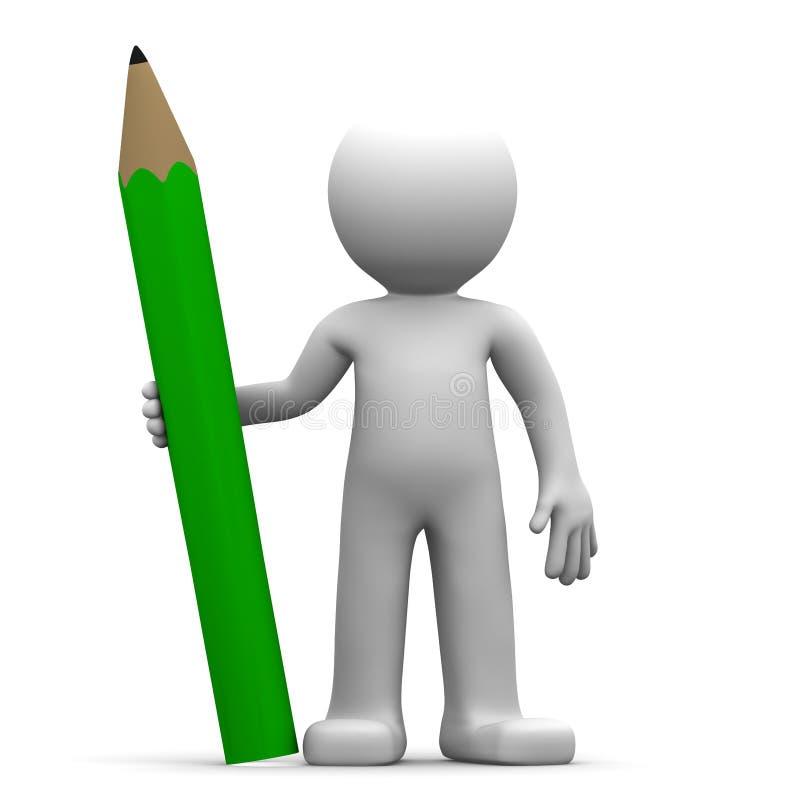 3d字符绿色铅笔 皇族释放例证
