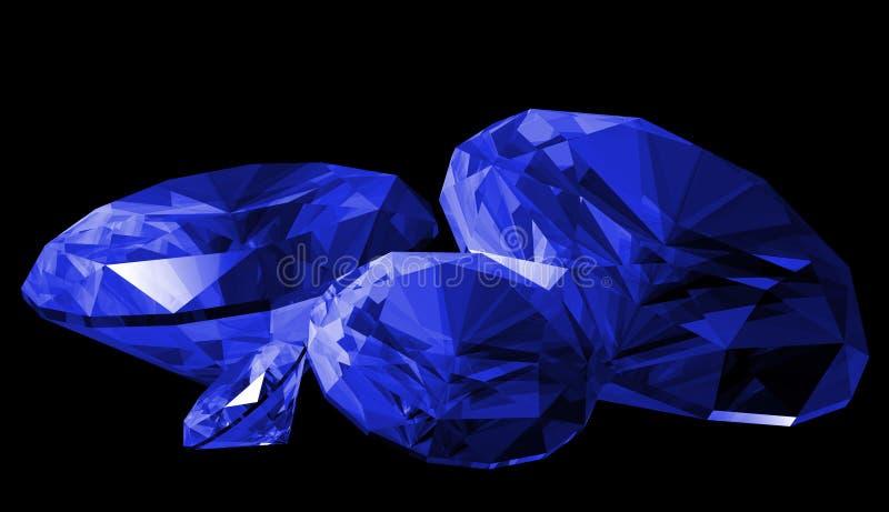 3d宝石查出青玉 向量例证