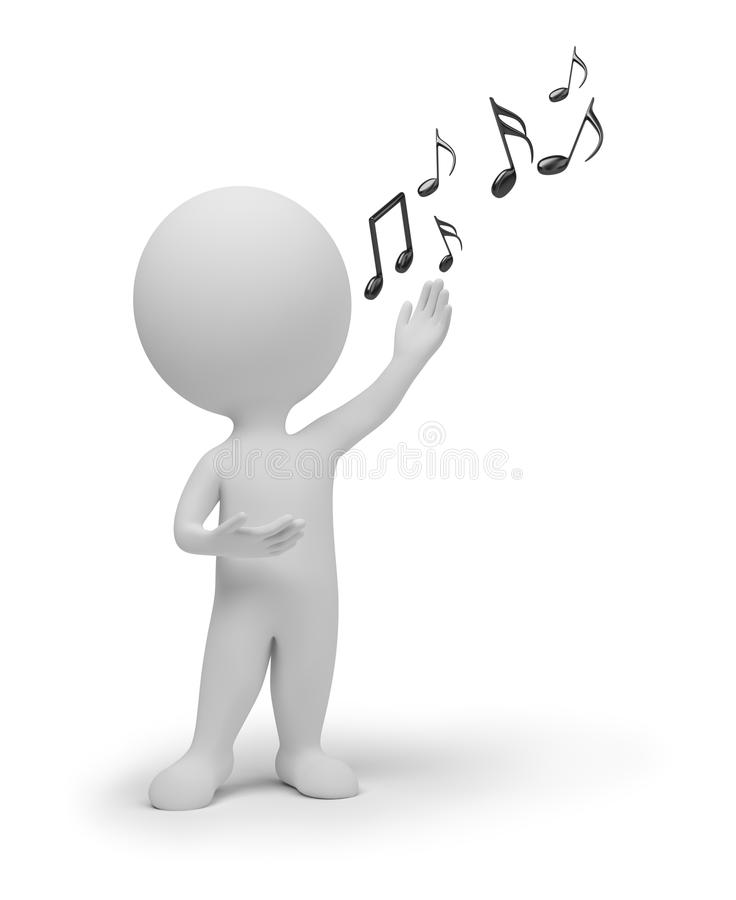 3d小人的歌唱家 库存例证