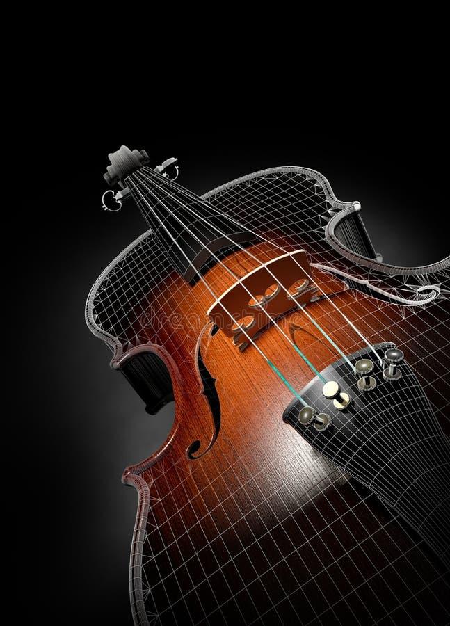3d小提琴电汇 向量例证