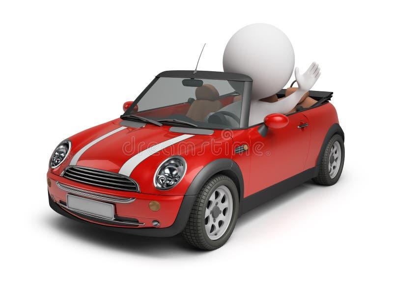 3d小汽车的人 向量例证