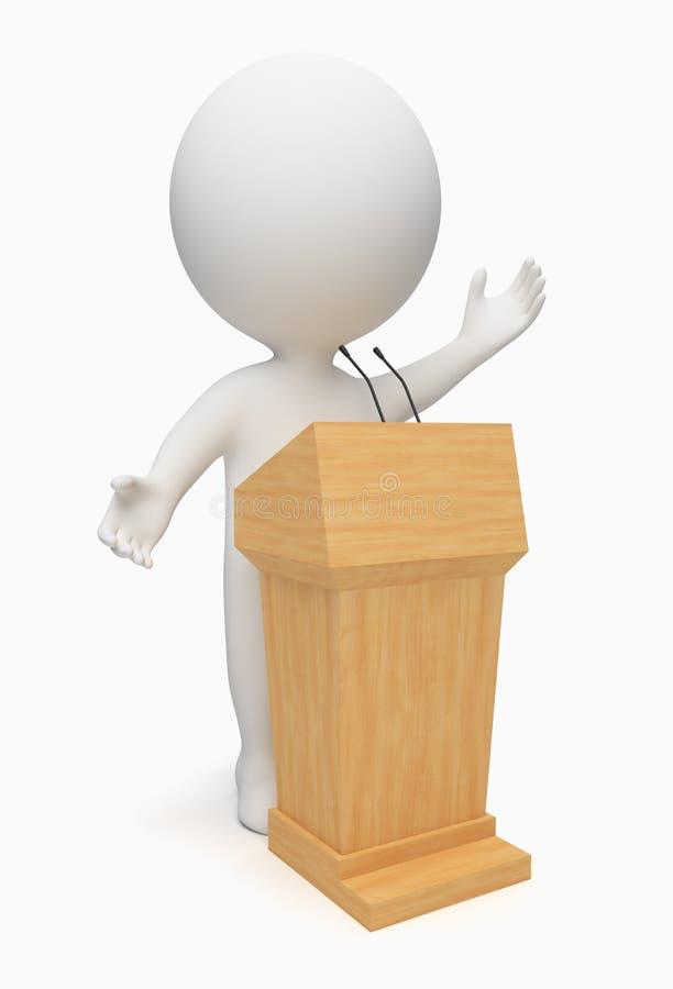 3d小演说者的人 向量例证