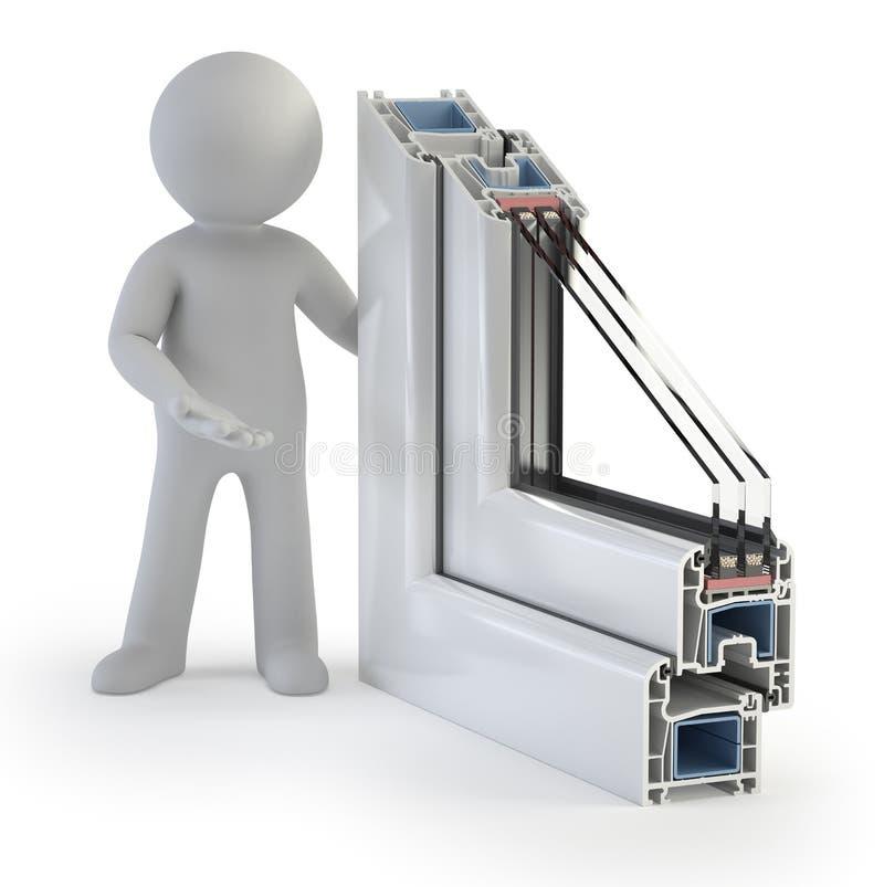 3d小的人员-塑料视窗配置文件 库存例证