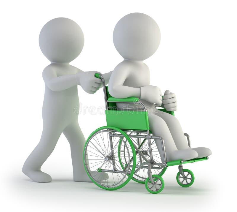 3d小的人员-轮椅 向量例证
