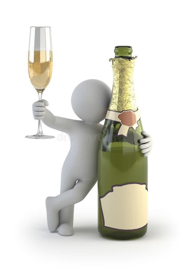 3d小的人员-香槟 库存例证