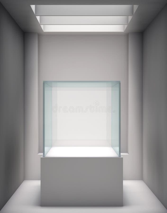 3d展览的玻璃陈列室和适当位置 向量例证