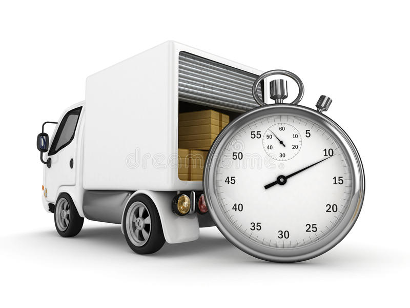 3d开张有篷货车 库存例证