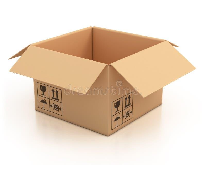 3d开放配件箱纸板空的例证 向量例证