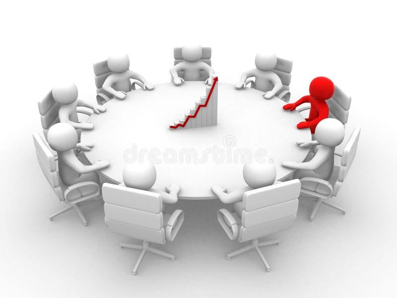 3D开的人坐在圆桌和业务会议- 3d 向量例证