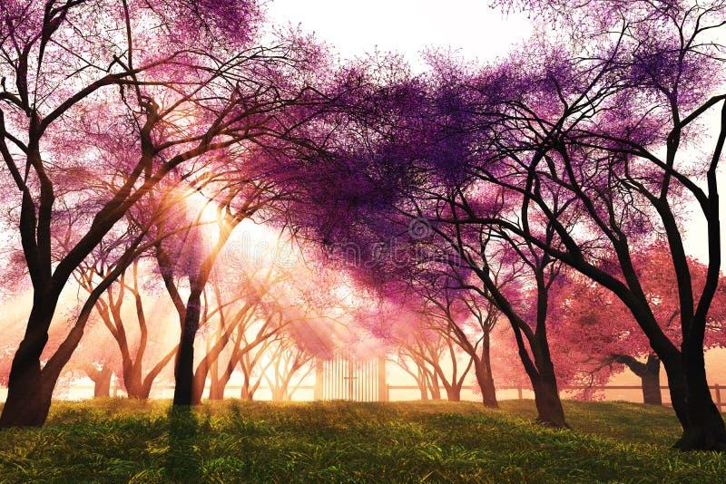 3d开花樱桃日语回报的庭院 向量例证