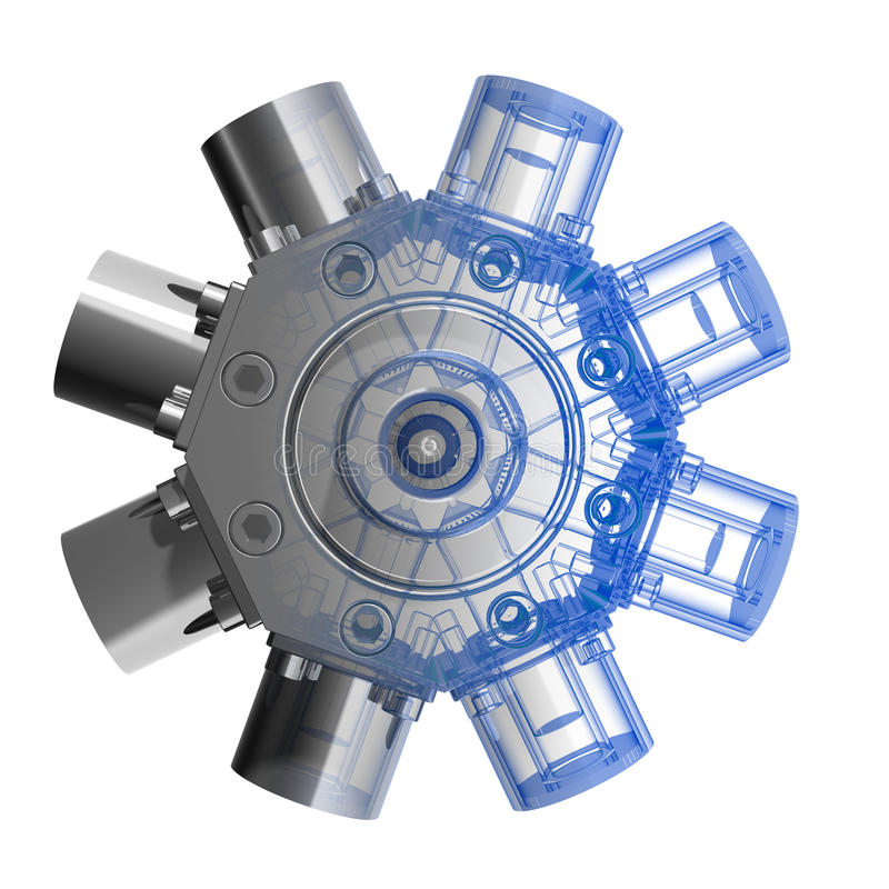 3d引擎rotarry X-射线 库存例证