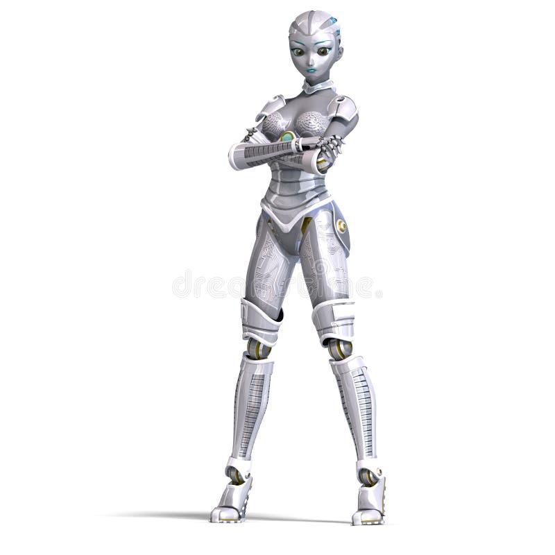 3d性感女性金属翻译的机器人 向量例证
