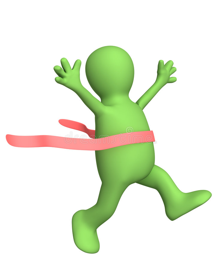 3d愉快克服的完成有的领导先锋木偶 向量例证