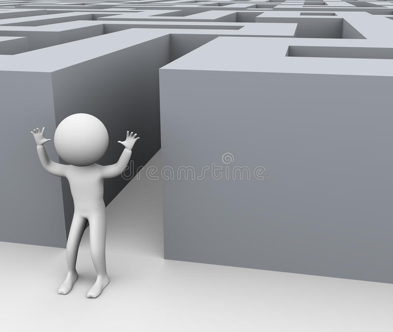 3d成功人的迷宫 库存例证