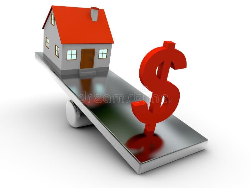 3D房子和美元平衡 库存例证